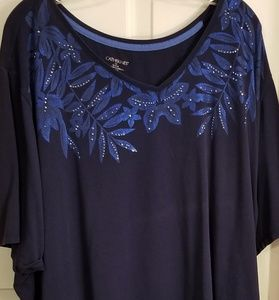 Catherines navy embellished SS tee.